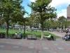 Parkanlage mit Bostoner die Yoga machen