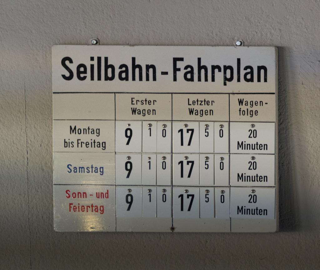 Fahrplan Standseilbahn