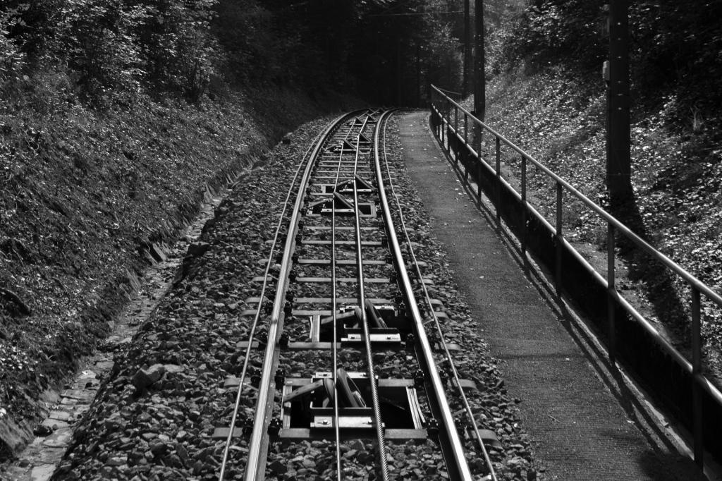 Schienen der Standseilbahn in s/w