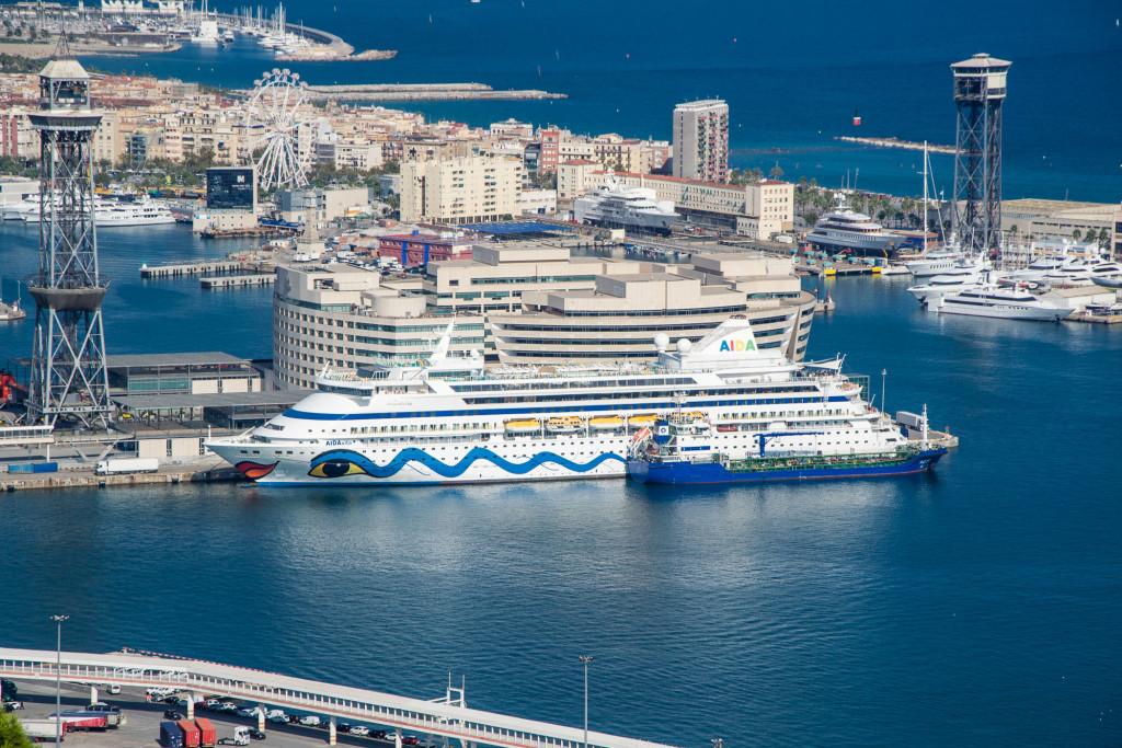 Hafenseilbahn Barcelonas über Kreuzfahrtschifft der AIDA Flotte