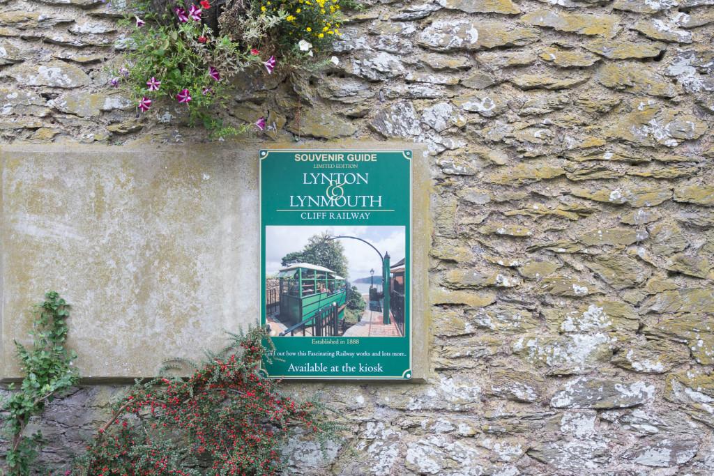 Lynton und Lynmouth Cliff Railway Schild