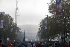 Londoner Nebel am Wembley Stadion (Stadion in England)