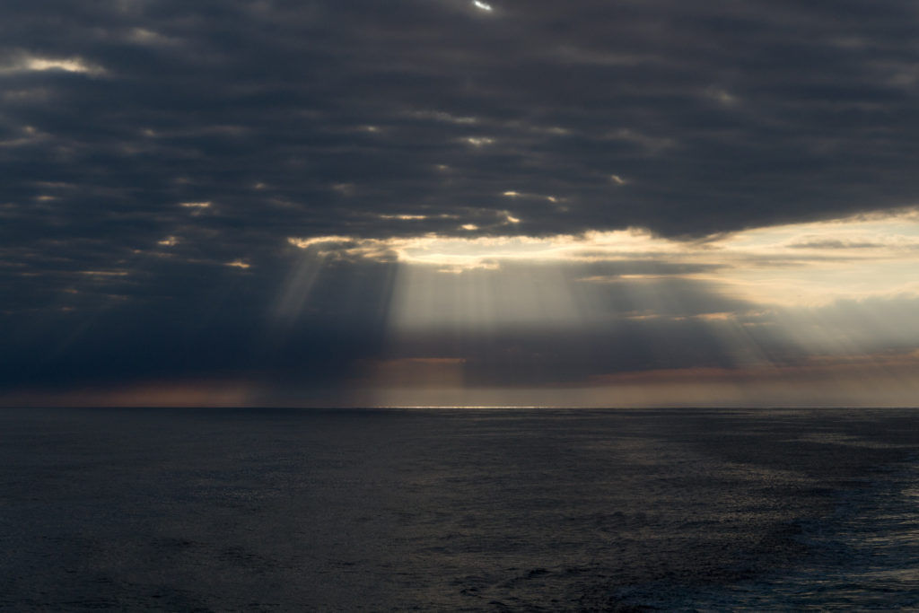 Glatte Nordsee - ruhige Nacht auf der Rückfahrt
