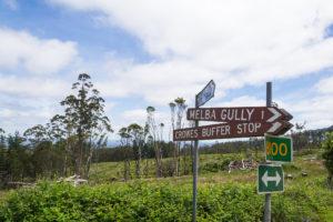 Schild: Melba Gully
